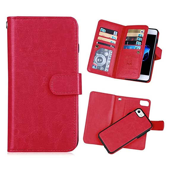 new arrival c5e46 bfdde iPhone 6 plus/6S Plus 2 in 1 Wallet Case,Hynice Folio Flip PU Leather Case  Magnetic Detachable Slim Back Cover Card Holder Slot Wrist Strap Wallet ...
