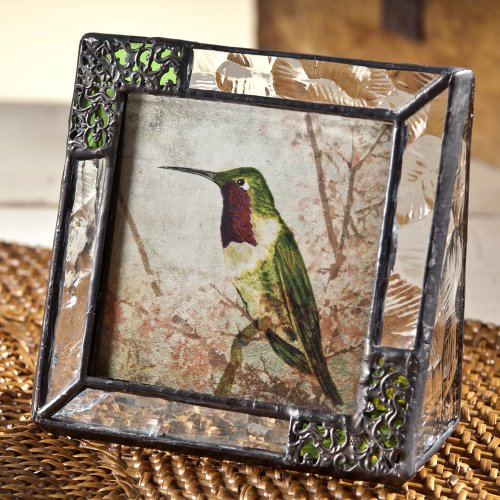 Textured Metal Frame (J Devlin Pic 352-33 Stained Glass 3x3 Picture Frame Clear Textured and Green with Metal Overlay Hummingbird Table Top Photo Frame Keepsake Gift)