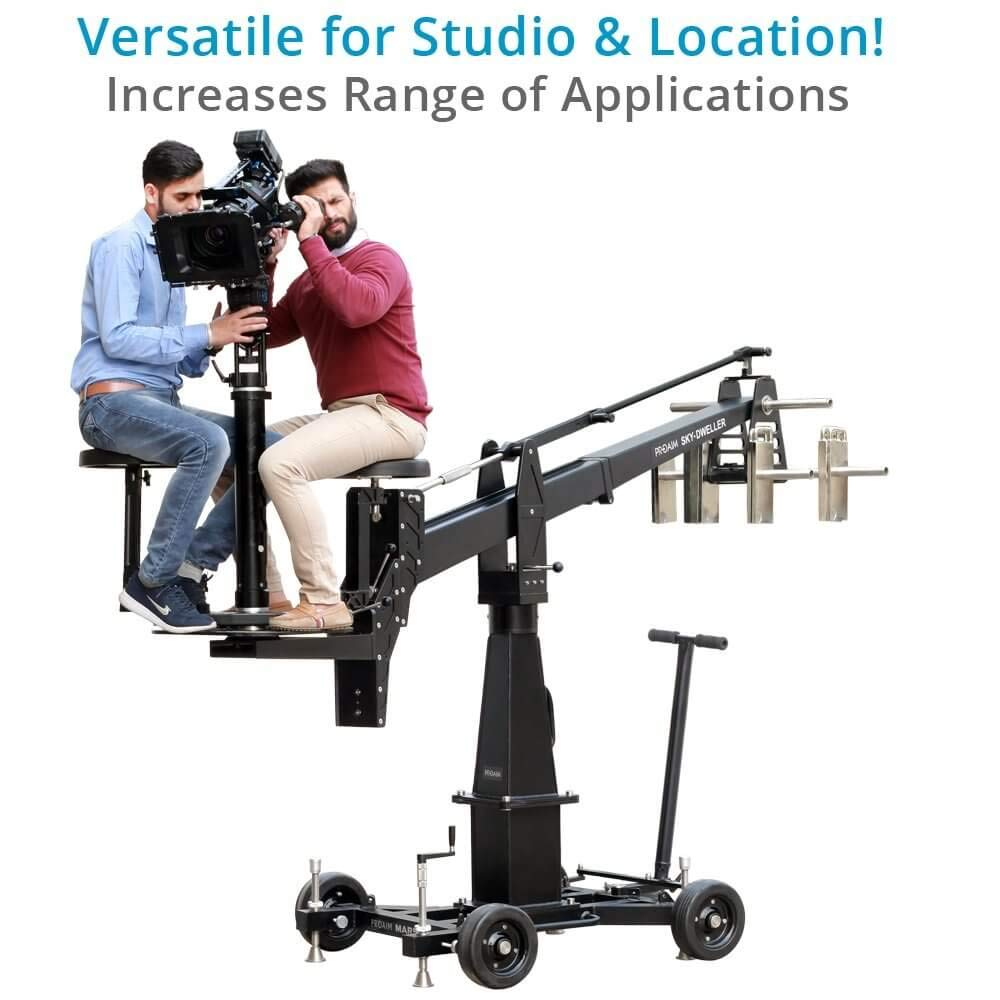PROAIM Sky-Dweller 10ft Euro Camera Jib + Seat Platform - Perfect for 2 Persons up to 200kg/440lb   Robust Marshal Dolly & Euro Column   Indoor/Outdoor Jib for Film Cinema   Flight Case (JB-SKDW-01) by PROAIM