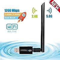 LittleBaby Adaptateur Clé WiFi, 1200Mbps USB WiFi Dongle sans Fil AC Dual Band (2.4G/300Mbps+5.8G/867Mbps) USB 3.0 Adapter Carte WiFi Antenne Détachable Clef WiFi pour Win 10/ /8/7/Vista Mac OS Linux