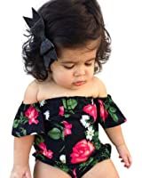 kaifongfu Newborn Jumpsuit, Baby Girl Off Shoulder Flowers Print Clothes Romper Jumpsuit Outfits