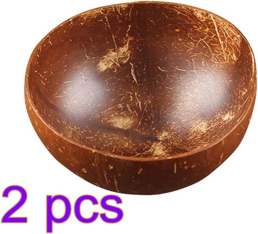 Vegan Polished with Coconut Oil Durable for Breakfast Party Meaningful for Friend and Family Premium Coconut Bowl Handmade 2 Packs Natural Coconut Bowl Decoration Serving