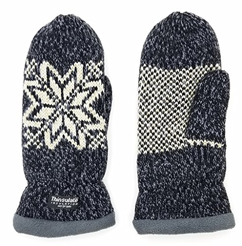 Bruceriver Women Snowflake Knit Mittens with Warm Fleece Lining Colour Black