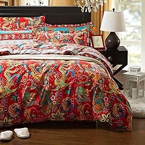 Amazon Com Sisbay Bohemian Paisley Bedding Boho Luxury