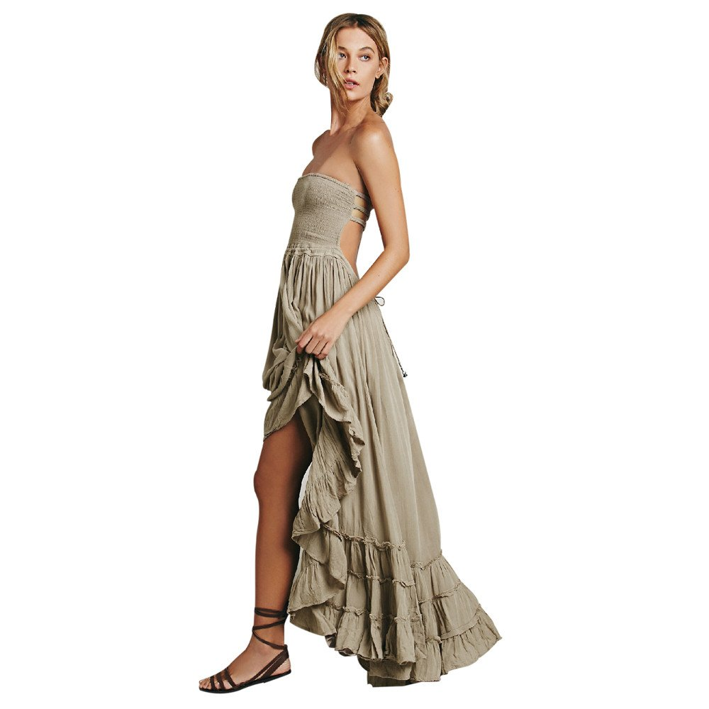 Fanyunhan Womens Ladies Summer Halter Neck Long Dress Bohemian Strappy Backless Maxi Dress Beach Evening Party Sling Sundress Khaki