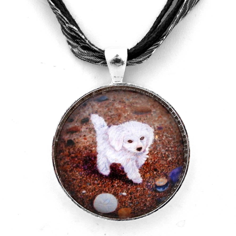 White Maltipoo Dog At the Beach Handmade Jewelry Art Pendant