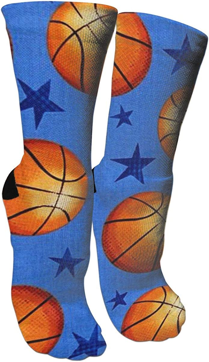 Star And Basketball Crazy Socks Casual Cotton Crew Socks Cute Funny Sock great for sports and hiking