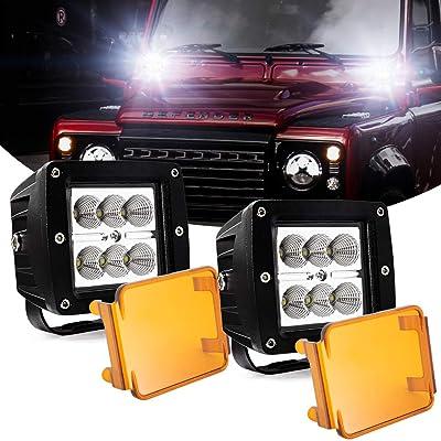 """3"""" LED Pods Light Bar,Cube Amber LED Flood Off Road Fog Lights Driving Work Lights 24W 12V 24V for Cars Trucks Jeep Boats: Automotive"""