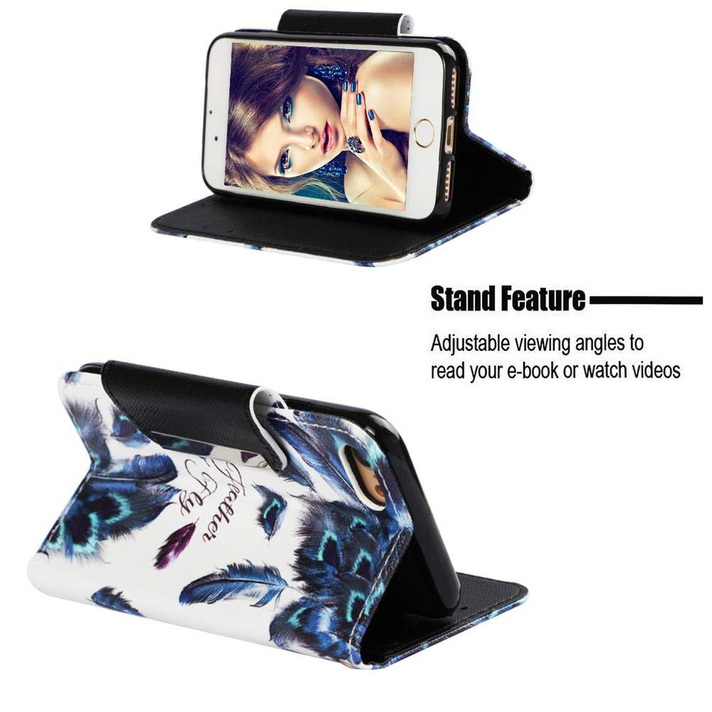 ... 3D Printing Kickstand PU Leather Wallet Case with Magnetic Closure & Wrist Strap [Durable] Slim Shockproof Card Holder Compatible with Apple iPhone 7/8 ...