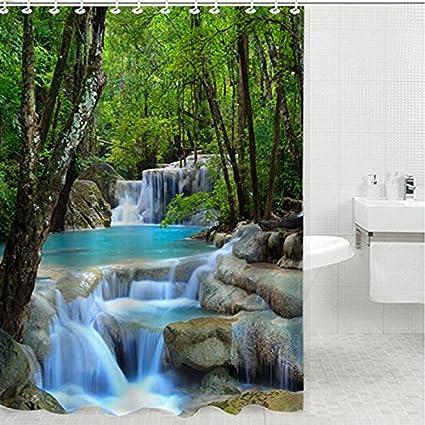 Waterproof 180x180cm Fabric Waterfalls Nature Scenery  Bathroom Shower Curtain