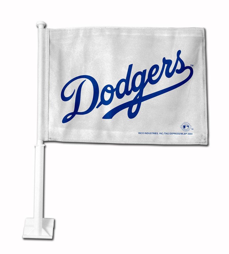 MLB Los Angeles Dodgers Car Flag (White) Rico Industries FG5603