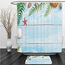 Vipsung Shower Curtain And Ground MatSeashells Decor Set Summer Star Fish Seashell Tropic Plants Leaves Seaweed Nautical On Boat Marine Theme Shower Curtain Set with Bath Mats Rugs