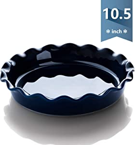 Sweese 518.103 Porcelain Pie Pan, Round Pie Plate Baking Dish with Ruffled Edge, 10.5 Inches, Navy