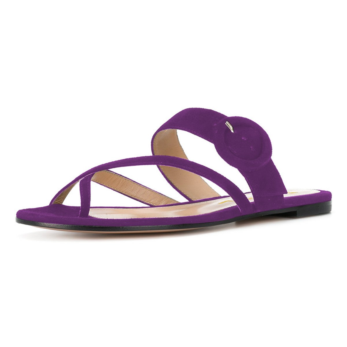 YDN Women Casual Flip Flops Sandals Slip on Sandals Low Heels Thong Shoes Buckle Purple 13
