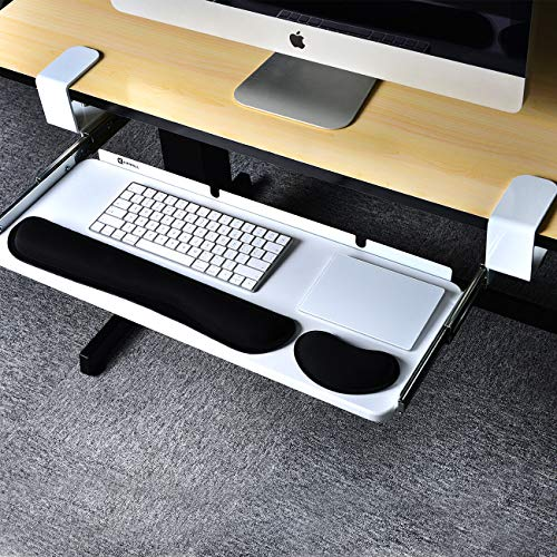 Kinwell Ergonomics Under Table Keyboard Tray Super Easy Clamp on Mechanism Memory Foam Wrist Rest Straps (25'' White) by KINWELL (Image #1)