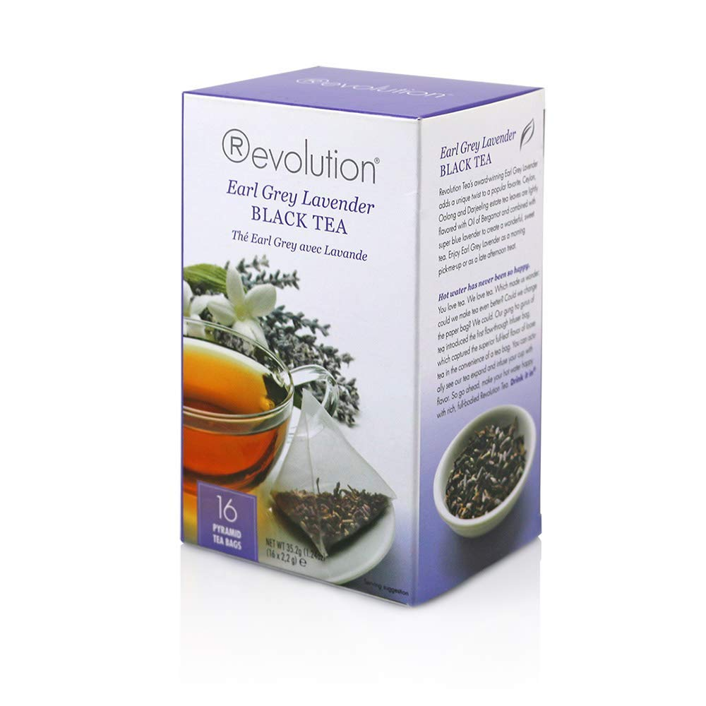 Revolution Tea Black Tea, Earl Grey Lavender, 16 Count (Pack of 12)