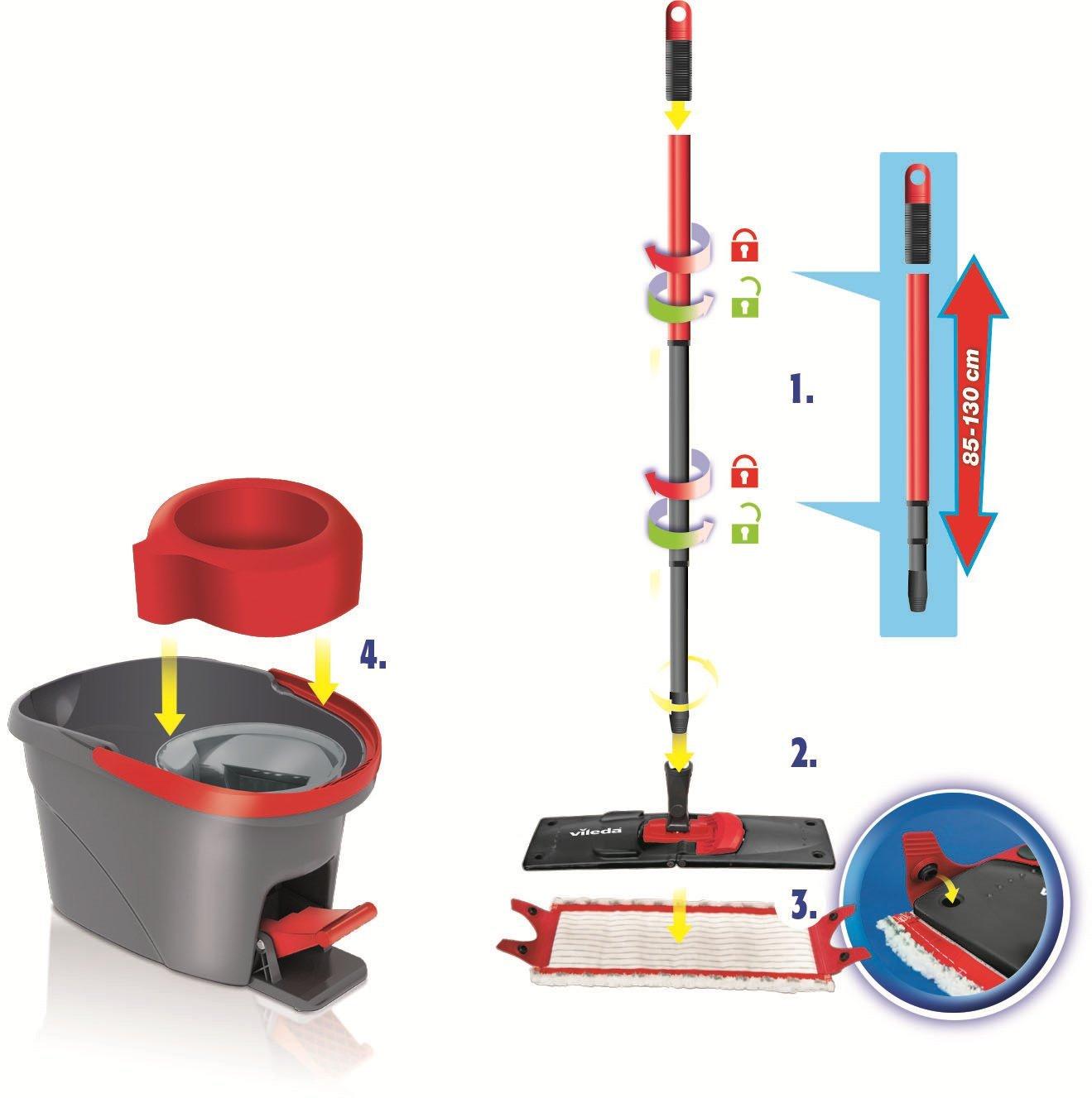 Vileda Ultramat EasyWring como especial juego de{2} juego de fundas - juego compuesto de una mopa microfibra fundas y rotacin cubo con escurridor potente ...