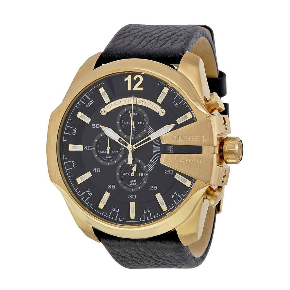 Diesel Men's Mega Chief Quartz Stainless Steel and Leather Chronograph Watch, Color: Gold-Tone, Black (Model: DZ4344)