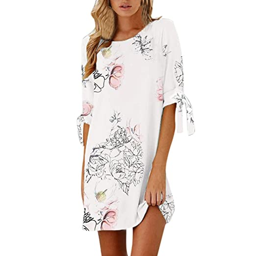 Womens Floral Dress, 2018 New Women Summer Half Sleeve Bow Bandage Striaght Casual Short Mini
