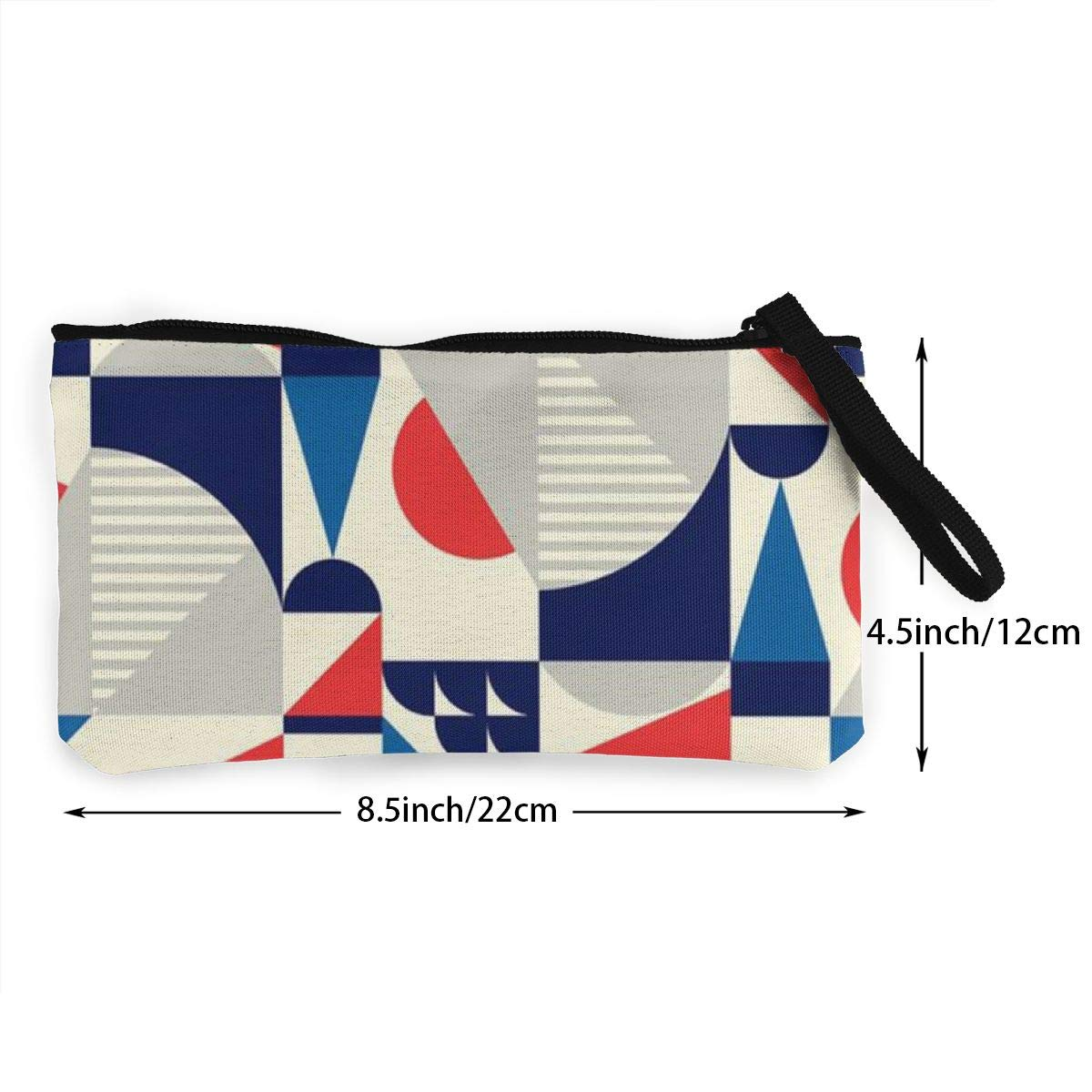 Coin Pouch Geometric Art Canvas Coin Purse Cellphone Card Bag With Handle And Zipper
