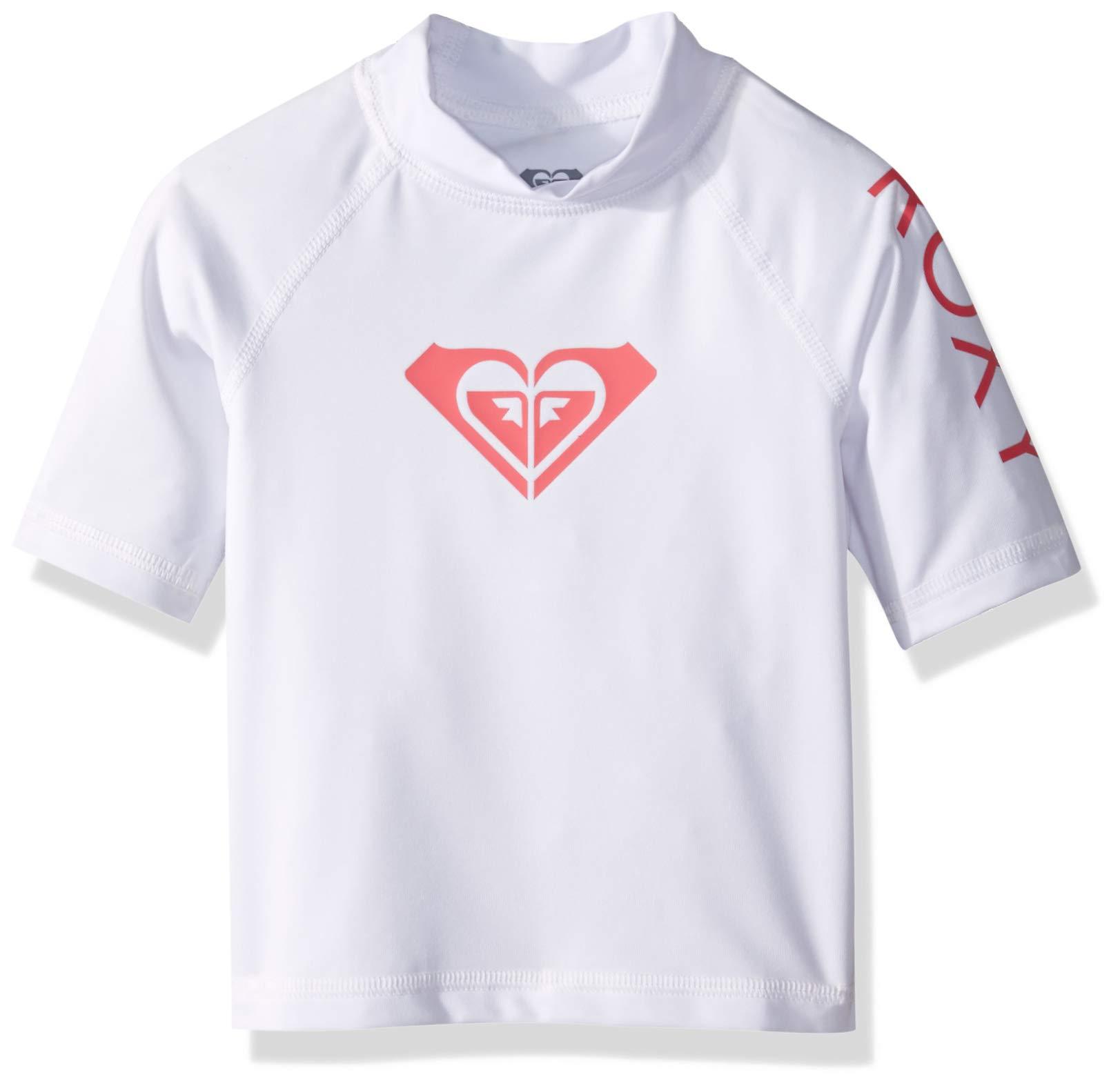 Roxy Toddler Girls' Whole Hearted Short Sleeve Rashguard, Bright White, 2