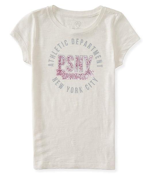 d4aece90 Aeropostale Girls Glitter Athletic Graphic T-Shirt Off-White 5 - Little Kids  (