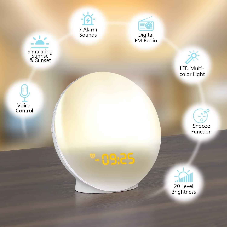 Amazon.com: LATME - Reloj despertador con luz funciona con ...