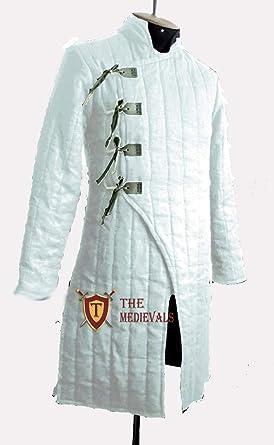Black Medieval Thick Padded Full Length Gambeson Coat Aketon Jacket Armor