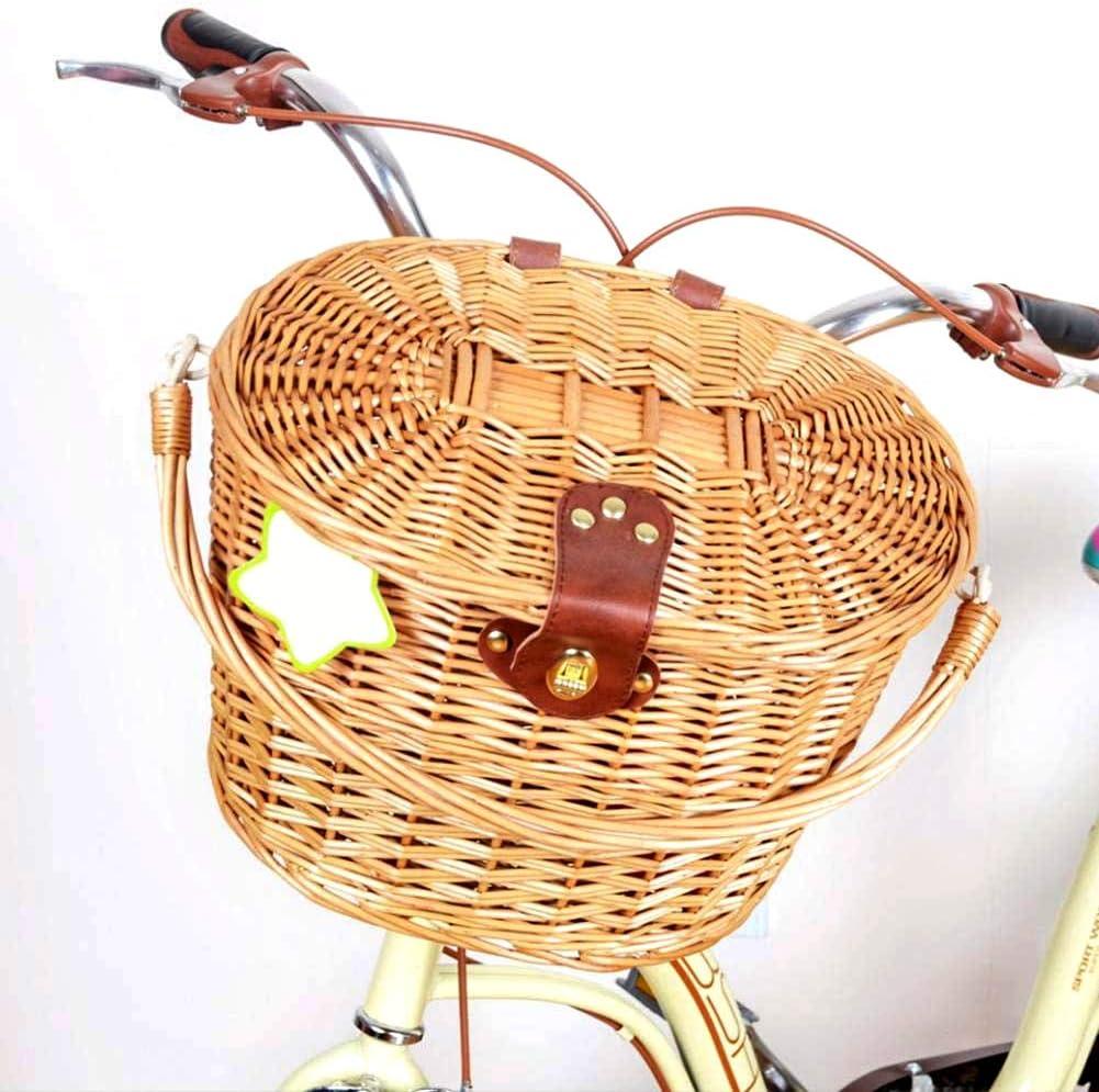 JoyFan Cestino Anteriore di Bicicletta di Vimini dEpoca con Cinghie di Cuoio del Coperchio Cestino della Spesa Portatile