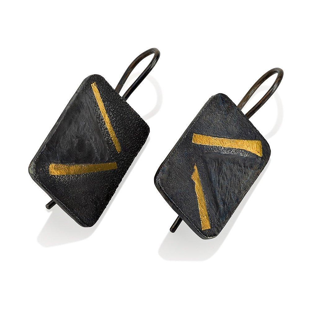 Geometric Earrings Keum Boo Earrings rectangle Oxidized Silver Gold Earrings Rectangle Earrings Dangle Earrings Black Drop Earrings