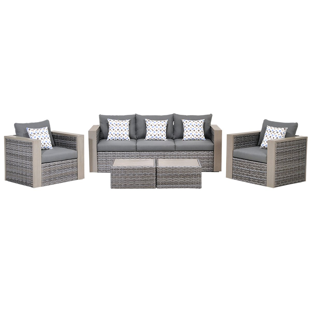 Atlantic 5-Piece Mustang Wicker Conversation Set with Grey Cushions