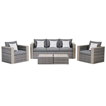 Atlantic 5 Piece Mustang Wicker Conversation Set With Grey Cushions