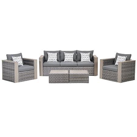 Atlantic 5-Piece Mustang Wicker Conversation Set with Grey Cushions