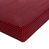 Glenna Jean Flannel Check Crib Sheet Fitted 28''x52''x8'' Nursery Standard
