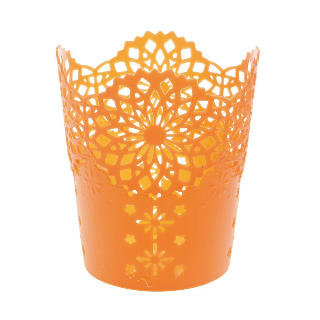 ruiruiNIE Creux Fleur Brush Storage Pen Crayon Pot Support Container Desk Organizer M/étal Vert