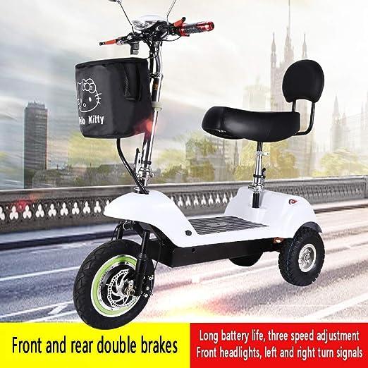 XYDDC Triciclo Plegable el/éctrico port/átil Mini Scooter el/éctrico de Litio Portable Adulto para los inv/álidos de Edad Avanzada bater/ía de Coche de 48V Puede durar 60 KM,Negro