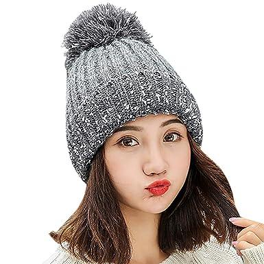 acc78e475 Zoylink Womens Knitted Hat Pom Pom Hat Fashion Thickened Warm Beanie ...