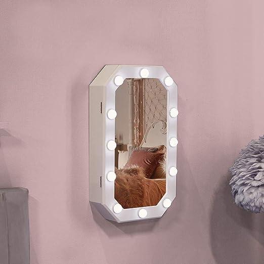 Beautify Espejo LED de Almacenamiento Montable en Pared Joyas Cosm/éticos Cuarto de Ba/ño Organizaci/ón Armario Sensor T/áctil Almacenamiento