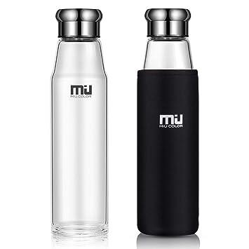MIU COLOR Elegante Botella de cristal portátil con funda de nailon, Vidrio, negro,
