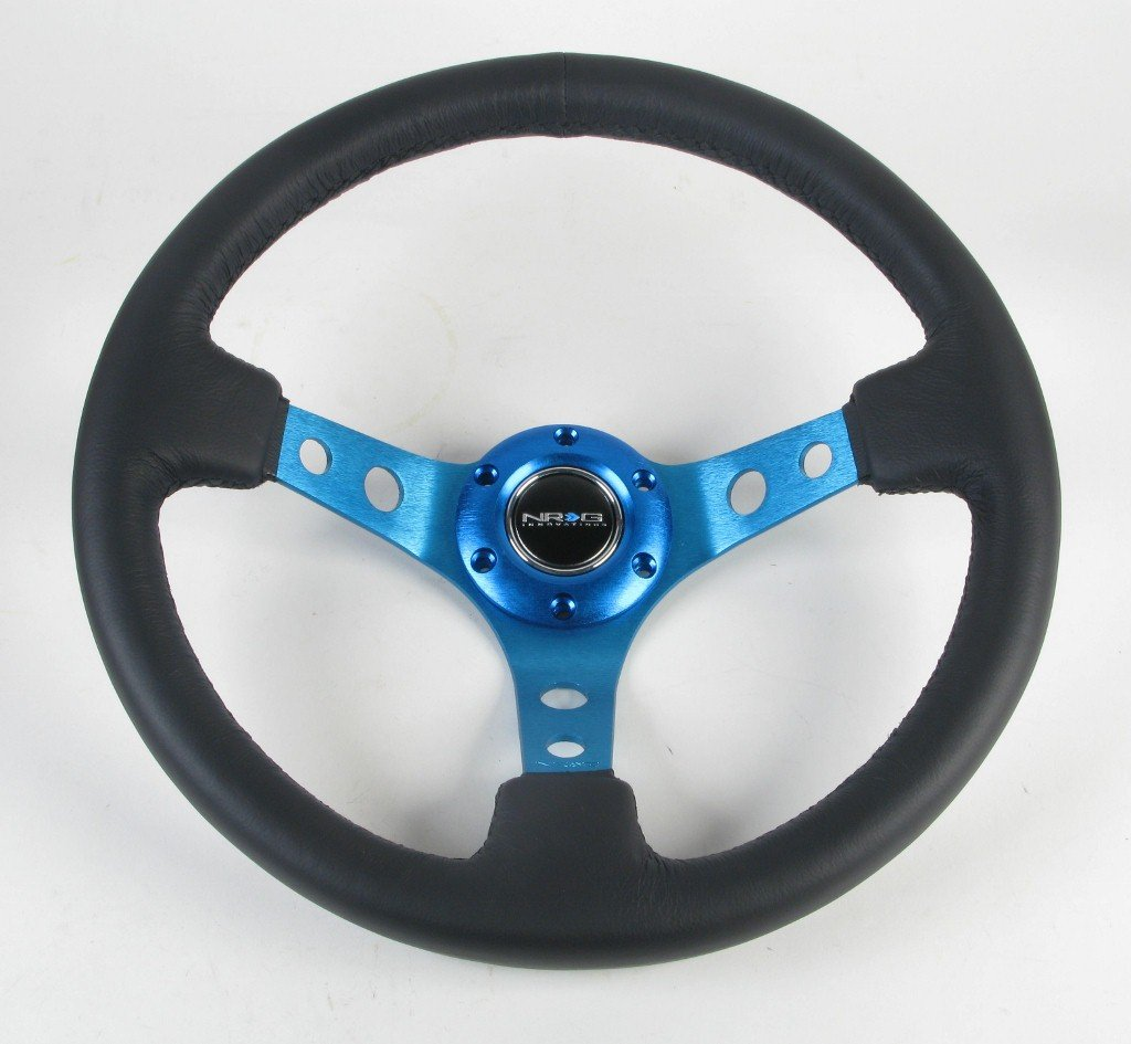 NRG Steering Wheel - 06 (Deep Dish) - 350mm (13.78 inches) - Black Leather with Blue Spokes - Part # ST-006R-BL