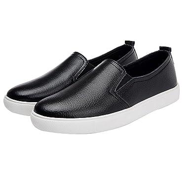 SCSAlgin Blouse Women Leather Fashion Ballet Flats Shoes Slip On Loafers Boat Shoes Moccasins (Black
