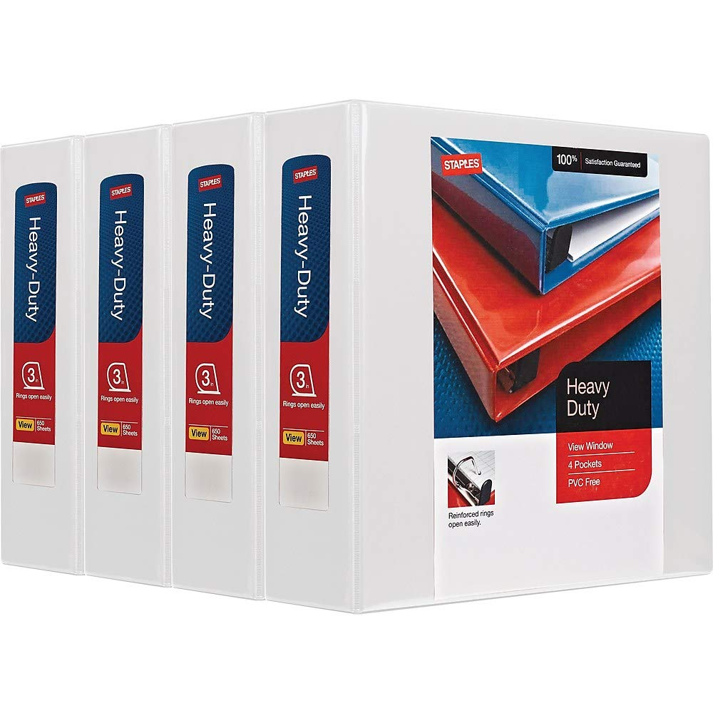 Staples 2723721 3-Inch 3-Ring View Binders White 4/Carton (24693CT) by Staples