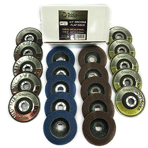 4.5 Inch Flap Disc (20 Pack Assortment) - 40 Grit Type 29 (10pc) and 80 Grit Type 27 (10pc) Professional Grade - Abrasive Grinding Wheel and Flap Sanding Disc by DocaDisc