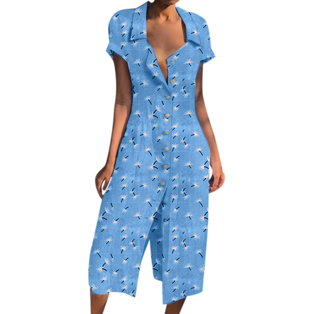 Sonojie Clearance sale Women's Fashion Summer Casual Daily Holiday Long Slim fit Printed Floral Button Short Sleeve Dress