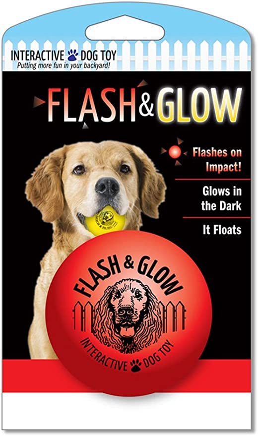 Spunky Pup Red Ball Flash and Glow New Flashing Glowing Dog Ball
