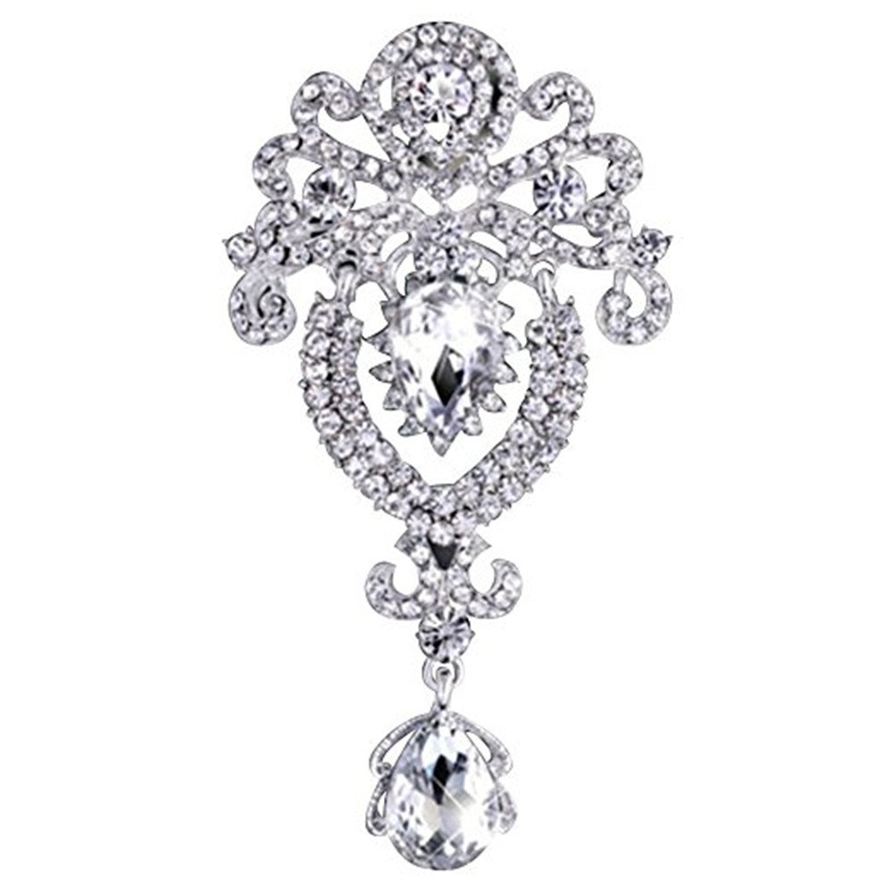 Fashion Crystal Crown Brooch Pin Beautiful Women Brooch Corsage Clothing Accessories (White) Qiqilei