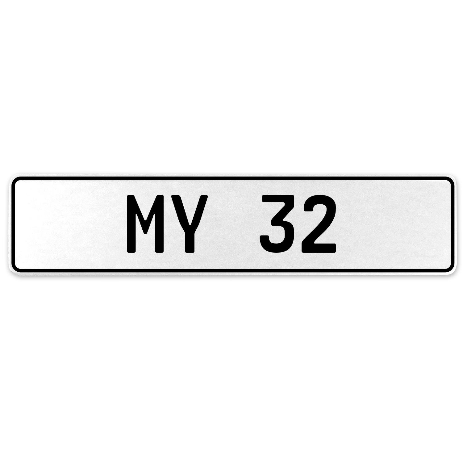 Vintage Parts 555124 My 32 White Stamped Aluminum European License Plate