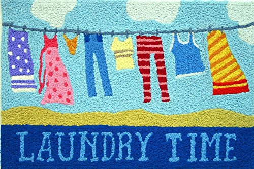 Laundry Time Clothesline Accent Area Rug Jellybean ()