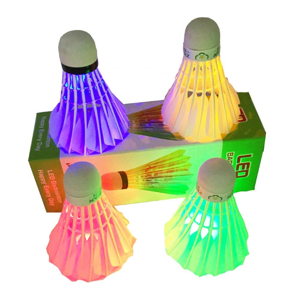 Ndier Bádminton LED, Juego de 4 Volantes de Volante de Ruedas de Color Brillante para Actividades Deportivas, Verde Azul Rojo