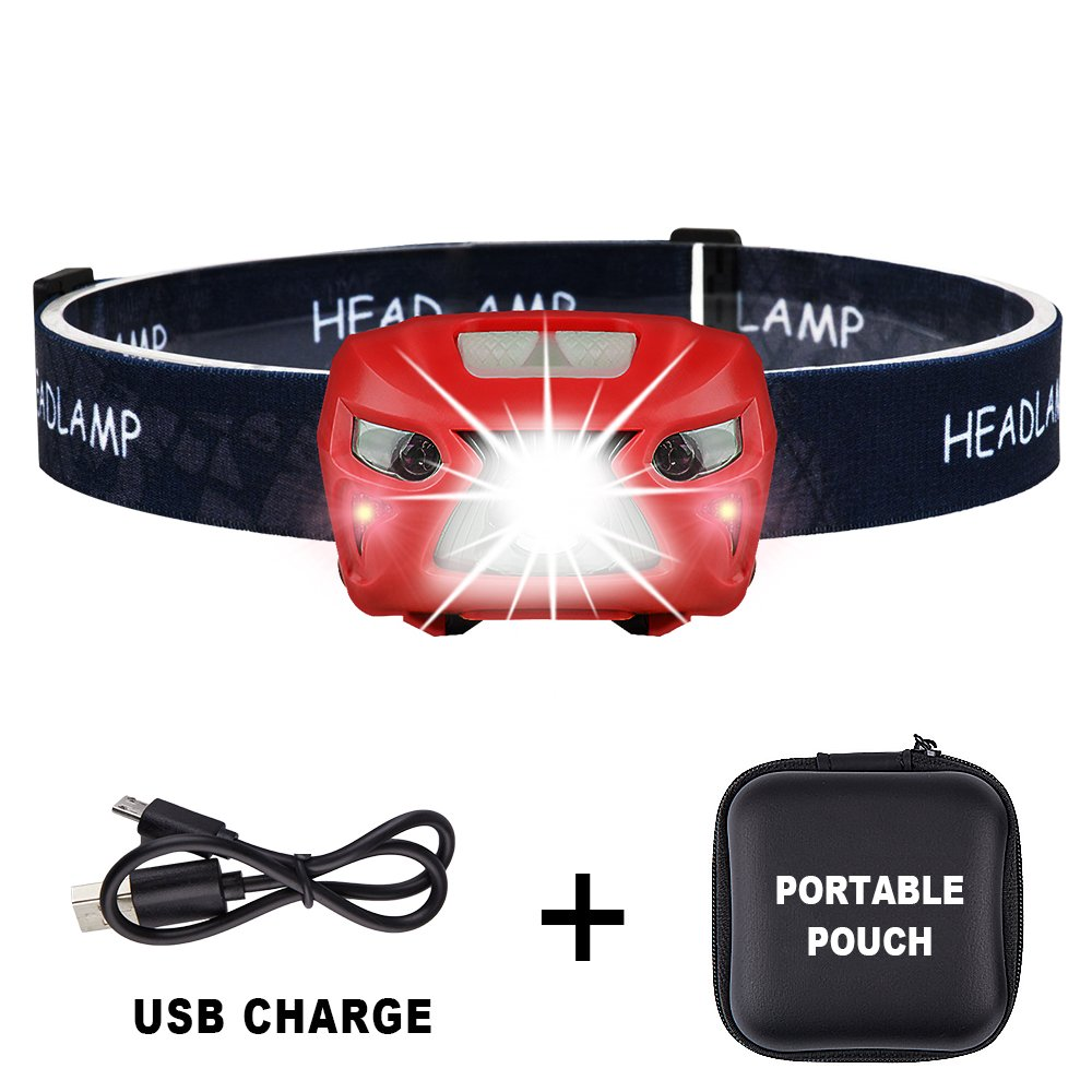 250 Lumens Ultra Bright Portable Sensor CREE LED Headlamp - 8 Lighting Modes with White & Red LEDs, 2.2Ounce Lightweight, Rechargeable 48hours Long Use, Best Headlamp For Running, Camping. Red